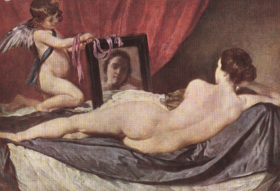 1939 print of Venus and Cupid by Velazquez (1599 - 1660), Spanish, published in World Famous Paintings, semi gloss print
