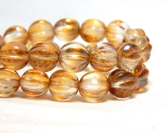 8mm Crystal Celsian Melon Round Czech Beads, Champagne Beads, Transparent Beads, Luster Beads, 8mm Melon Round Beads, D-D18