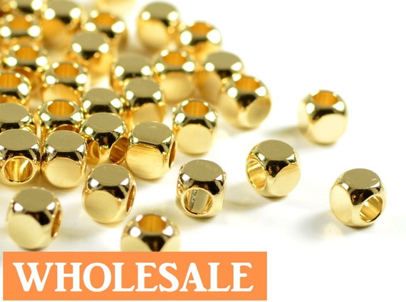 WHOLESALE Gold Cube, 5mm, cornerless square spacer beads, rounded square brass beads in 24k electroplated gold- 100 pcs/ order