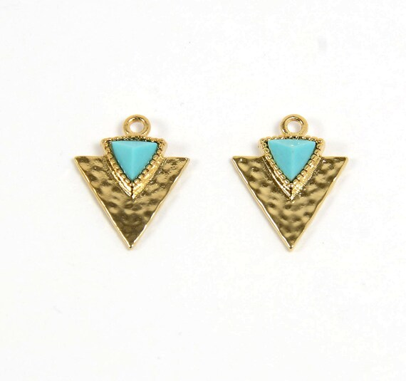 Turquoise Gemstone Triangle Charm/ Arrow Spear Pendant with Turquoise in Anti-tarnish Gold Plating  - 2 pcs/ order