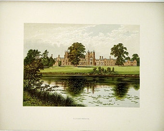 Capesthorne (Near Chelford) Chesshire, England * 1880 Vintage Antique Castle Lithograph * Landscape Beautiful!