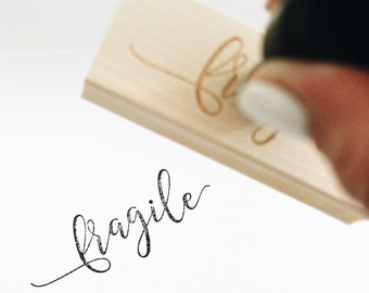 Fragile Rubber Stamp Hand Lettered Calligraphy
