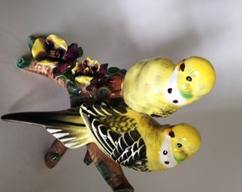 Pair of Yellow Parakeets on a Branch Figurine, Love Birds, Two Budgies, Feathers and Beaks, Tree Limb