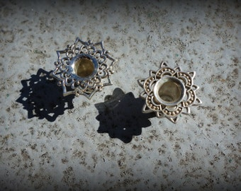 on sale: Beautiful handcrafted silver tunnels lotus flower design, Gauged Earrings, Silver Lotus Ear Tunnel Plugs Gauges, Silver Tunnels