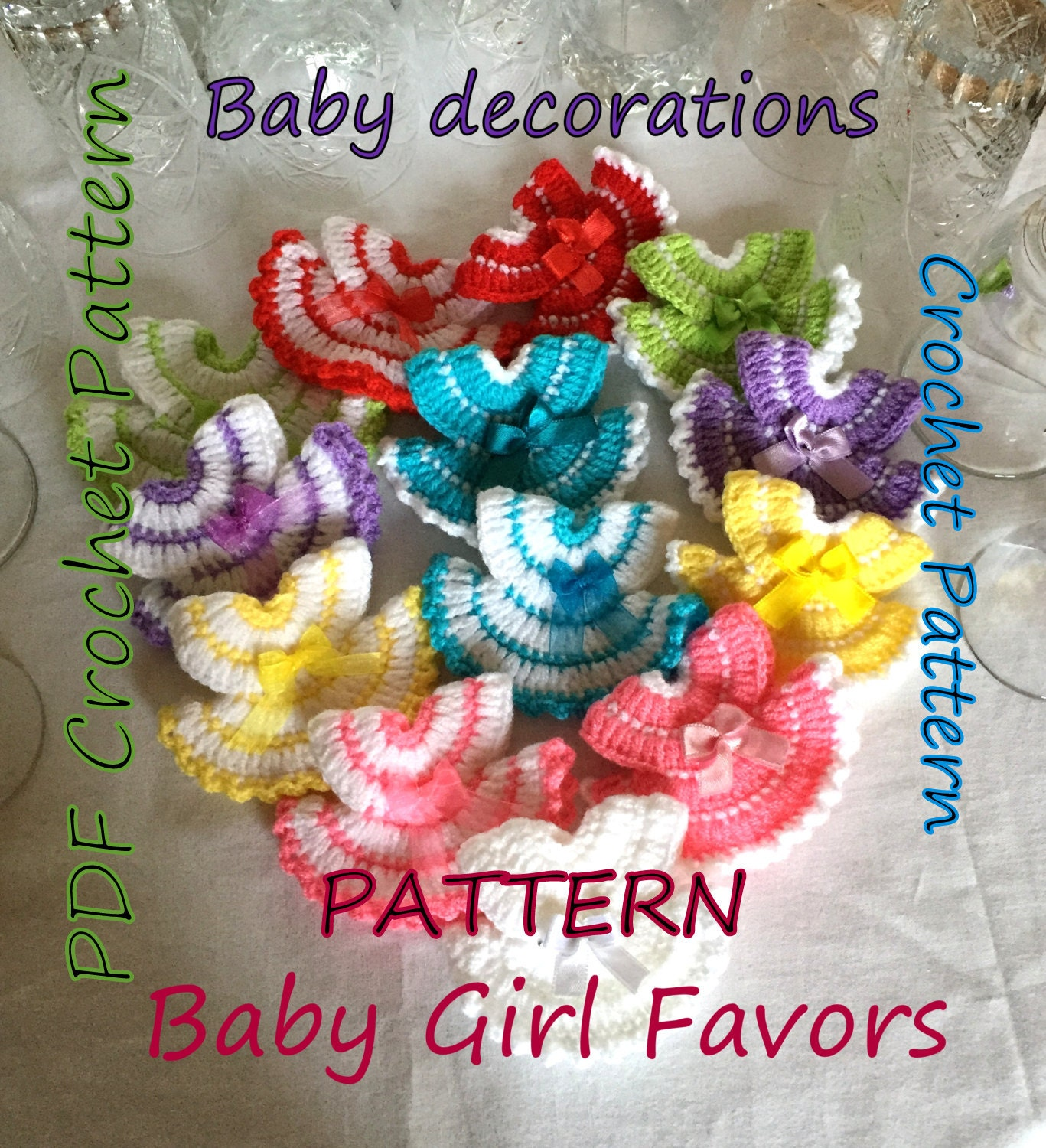 Crochet Baby Shower Favors To Make ~ Pattern miniature dress favors for party and baby shower