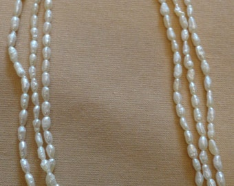Vintage 3 Strand Freshwater Rice Pearl Necklace
