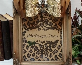 8x10inch Decorative Champagne Gold Frame with Bow and Brooch