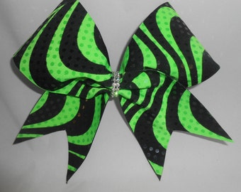 Cheer Bow Neon Lime Green / Black by blingitoncheerbowz