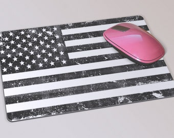 Fabric Mousepad, Mousemat, 5mm Black Rubber Base, 19 x 23 cm - Monochrome Vintage Stars & Stripes Flag Mousepad Mousemat