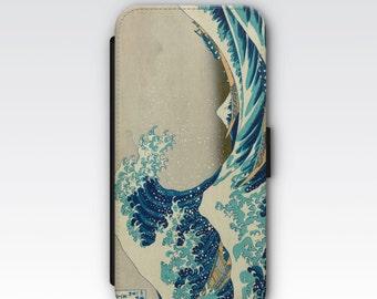 Wallet Case for iPhone 8 Plus, iPhone 8, iPhone 7 Plus, iPhone 7, iPhone 6, iPhone 6s, iPhone 5/5s - The Great Wave off Kanagawa Hokusai