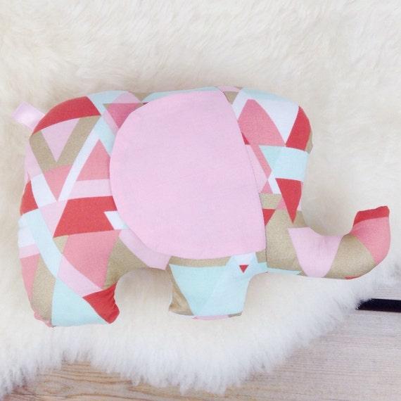Animal Pillows For Nursery : Items similar to Elephant Plush Pillow, Elephant Stuffed Animal, Bright Geo Elephant Stuffie ...