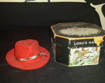 Vintage Long's Hats Salesman's Sample Felt Hat and Box. Fedora.