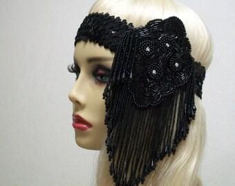 Art Deco Flapper Headband, The Great Gatsby, Downton Abbey, 1920s Flapper Headpiece, 1920s Headpiece, 1920s Flapper, Black Beaded Headband