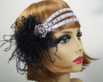 1920s headband, Flapper headband, 1920s headpiece, Gatsby headband, Great Gatsby, Art Deco headband, 1920s hair accessory, Vintage inspired