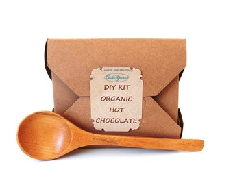 DIY kit recipe ORGANIC hot CHOCOLATE, organic raw cacao powder, organic coconut sugar, organic vanilla extract, makes 2.5 cups approx 20 oz