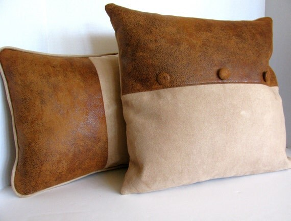 18x18 high end palomino chaps faux leather and suede pillow