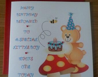 Handmade Personalised Birthday Card TEDDY BEAR DESIGN