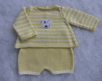 Hand knit cotton baby sweater with matching shorts made. Size 0-3 months.