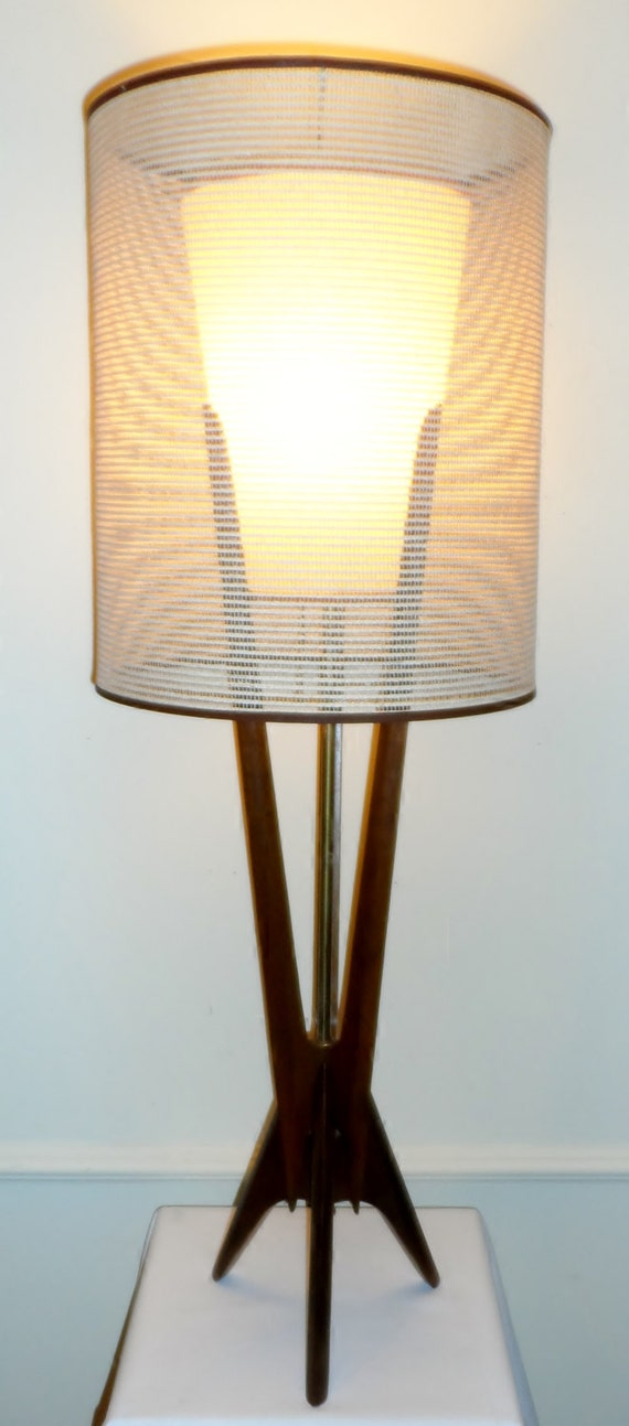Vintage mid century danish modern 42 teak lamp rocket for Eames lampe