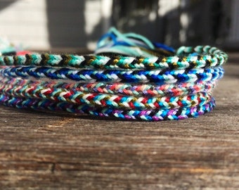 Woven Friendship Bracelets Hint of Aqua Collection: thin, Blue Bracelet, Skinny Bracelet, Boho Gift Ideas Holiday Gift Accent Bracelet Acces