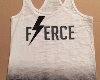 Fierce...Tee or Tank. Gym Tank. Workout Tank. Women. Glitter.
