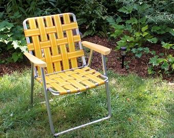 Yellow Vintage Aluminum Lawn Chair, Beach Chair