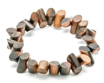Tiger Ebony Wood Side Cut Bead Bracelet