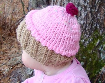 Knit Cupcake Hat with Sprinkles