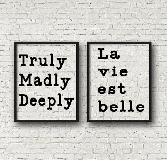 Truly Madly Deeply Set of two 11x14 silver/pewter floating frames, Truly Madly Deeply, La vie est belle quote Signs Savage Gardens Song