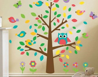 Removable Wall Decals - Tree with Owl and Birds - AW1018