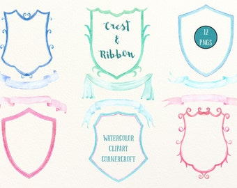 Hand painted watercolor crest frames and ribbons for instant download, diy wedding crest, family crest, branding.