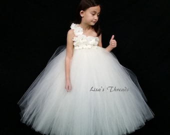 White or Ivory Flower girl dress/ Junior bridesmaids dress(WHITE/ IVORY/ PINK/ Aqua many colors available)