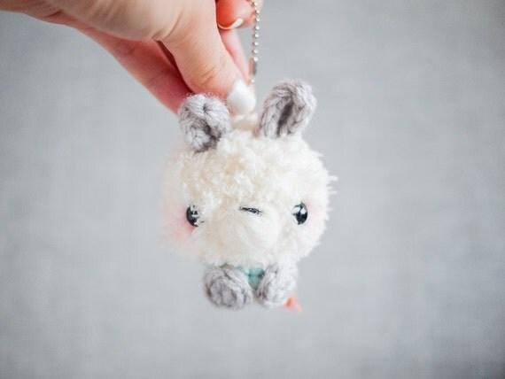 Amigurumi Bunny Keychain : Amigurumi Bunny Stuffed Plush Keychain with Mint Shirt White