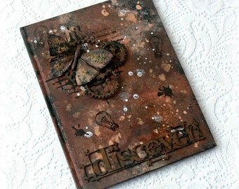 Mixed media notebook , steampunk notebook , vintage brown notebook , steampunk diary