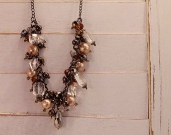 Gun metal, bronze and champagne layered chain necklace