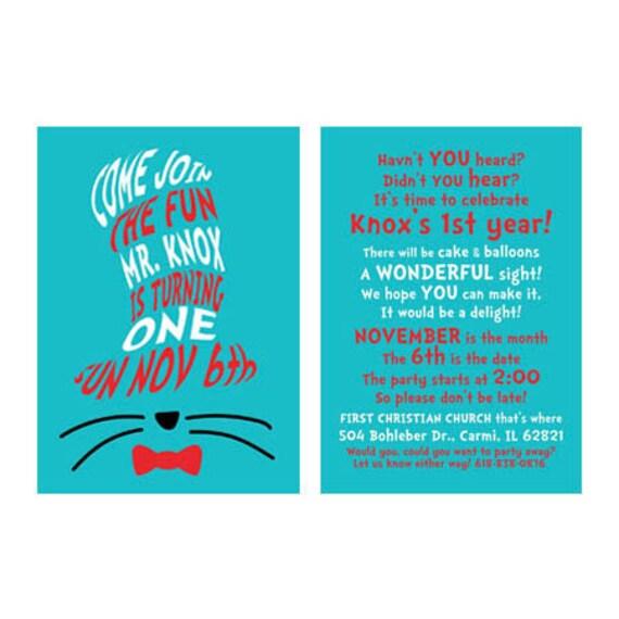 Dr. Seuss Birthday invitation- 2 sided (DIGITAL COPY)