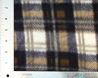 "Chocolate Plaid Anti-Pill Polar Fleece - Plush Fabric Polyester 13 Oz 58-60"""