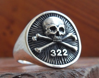 Heavy 3D Yale Secret Society Skull And Bones Ring Solid Sterling Silver 925
