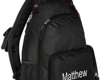 monogrammed backpack, monogrammed school bag, sling back pack, personalized gifts