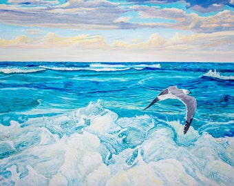 Seagull Original Oil Painting 48x36x1.5 in on gallery canvas