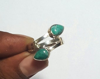 Double stone Ring in Natural Tibetian Turquoise ( Pear 9 x 6 mm ) Cabochon handmade in Solid 925 Silver Ring ANY SIZE AVAILABLE