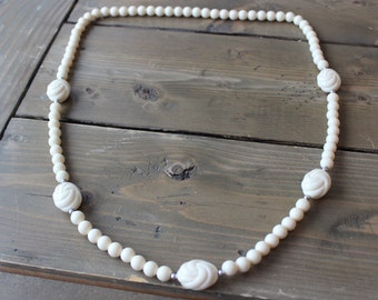 Vintage Faux Ivory Bead Necklace 35 inch