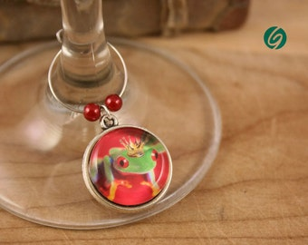 Party - wine Glass Markers, Steampunk funny frogs, set of 6 - glass cabochon pictures - made in Quebec - handmade by Créations GEBO -
