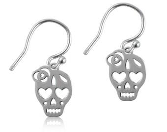Skull Dangle Earrings, Silver Jewelry, SKL1-6105