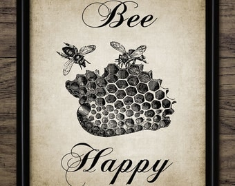 Vintage Bee Happy Print - Printable Bees and Honeycomb Art - Antique Home Decor - Honey Bee Poster - Single Print #329 - INSTANT DOWNLOAD