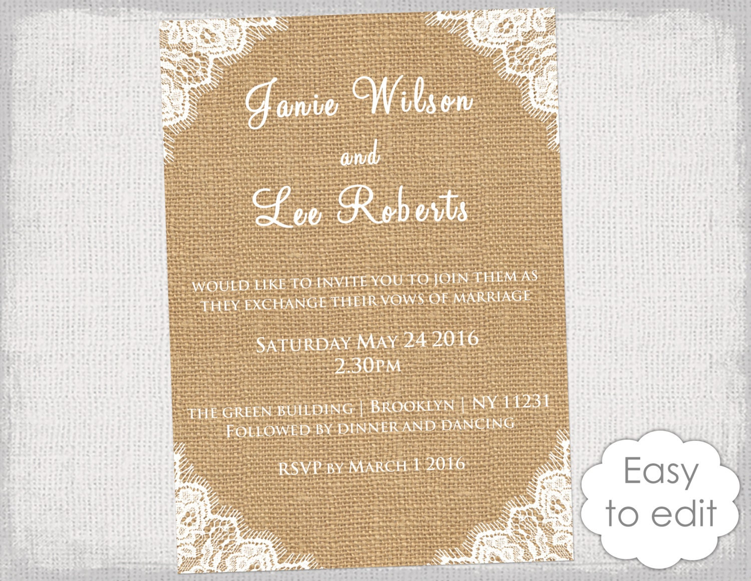 rustic invitation template burlap invitations with. Black Bedroom Furniture Sets. Home Design Ideas