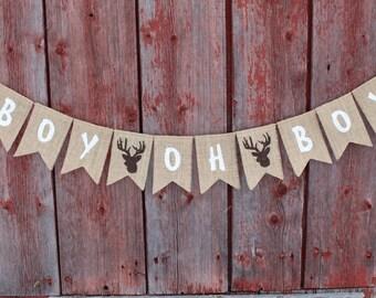 Woodland Baby Shower Decor, Boy Oh Boy Deer Stag Antlers Banner, Baby Boy Banner Bunting, Burlap Garland, Pregnancy Photo Prop Oh Boy Banner