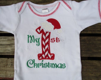 My first Christmas appliqued shirt or onesie