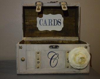 Card Box for Wedding - Vintage Style Wedding Card Box Holder - Medium Barrel Trunk, Vintage Wedding Card Holder