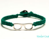 Clearance SALE - Nerd Glasses Bracelet, Dark Green Hemp Jewelry, Gifts for Her, Geek Accessory